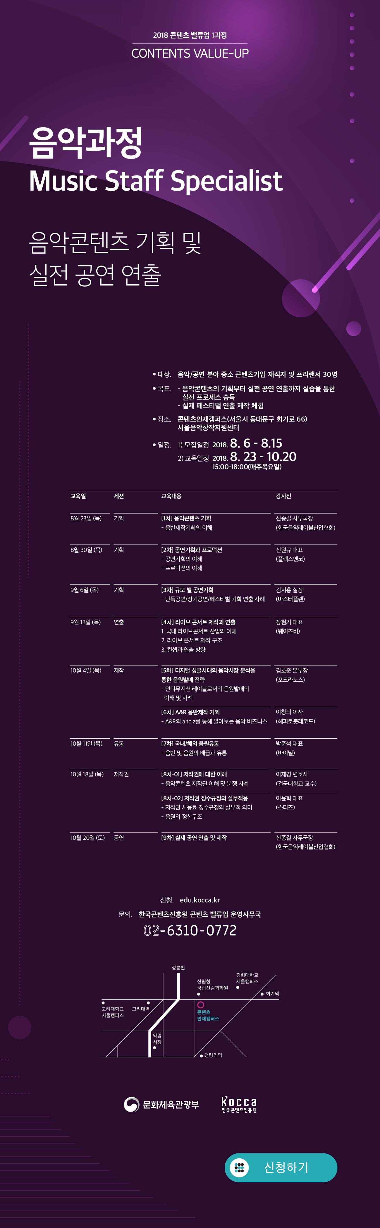Music Staff Specialist (8차시) 음악콘텐츠 기획 및 실전공연 연출 운영기간 : (모집·선발) 8/3(금) ~ 8/17(금) / (운영) 8/23(목) ~ 10/18(목) 전담코치 : 신종길 사무국장 (음악레이블산업협회) 주요목표 : 실제 공연 연출·제작을 위한 '공연제작프로젝트' 진행 교육장소 : 한국콘텐츠진흥원 콘텐츠인재캠퍼스 등 교육일정  [1차] 음악콘텐츠 기획  음반제작기획의 이해  공연기획의 이해 신종길 국장(음악레이블산업협회) [2차] 공연기획과 프로덕션  공연기획의 이해  프로덕션의 이해 신원규 대표(플래스앤코) [3차] 규모 별 공연기획  단독공연/장기공연/페스티벌 기획 연출 사례 김지홍 실장 (마스터플랜) [4차] 라이브 콘서트 제작과 연출  국내 라이브콘서트 산업의 이해 라이브 콘서트 제작 구조  컨셉과 연출 방향 장현기 대표(웨이즈비) [5차] 디지털 싱글시대의 음악시장 분석을 통한 음원발매 전략  인디뮤지션.레이블로서의 음원발매의 이해 및 사례 김호준 본부장 (포크라노스) [6차] A&R 음반제작 기획  A&R의 a to z를 통해 알아보는 음악 비즈니스 이창의 이사(해피로봇레코드) [7차] 국내/해외 음원유통  음반 및 음원의 배급과 유통 박준석 대표(바이닐) [8차_1] 저작권에 대한 이해  음악콘텐츠 저작권 이해 및 분장 사례 이재경 변호사 (이재경 법률사무소) [8차_2] 저작권 징수규정의 실무적용  저작권 사용료 징수규정의 실무적인 의미  음원의 정산구조 이윤혁 대표(스티즈) [공영운영 실습] Mint Fasta 문의처 한국콘텐츠진흥원 콘텐츠밸류업 운영사무국 02 6310 0772