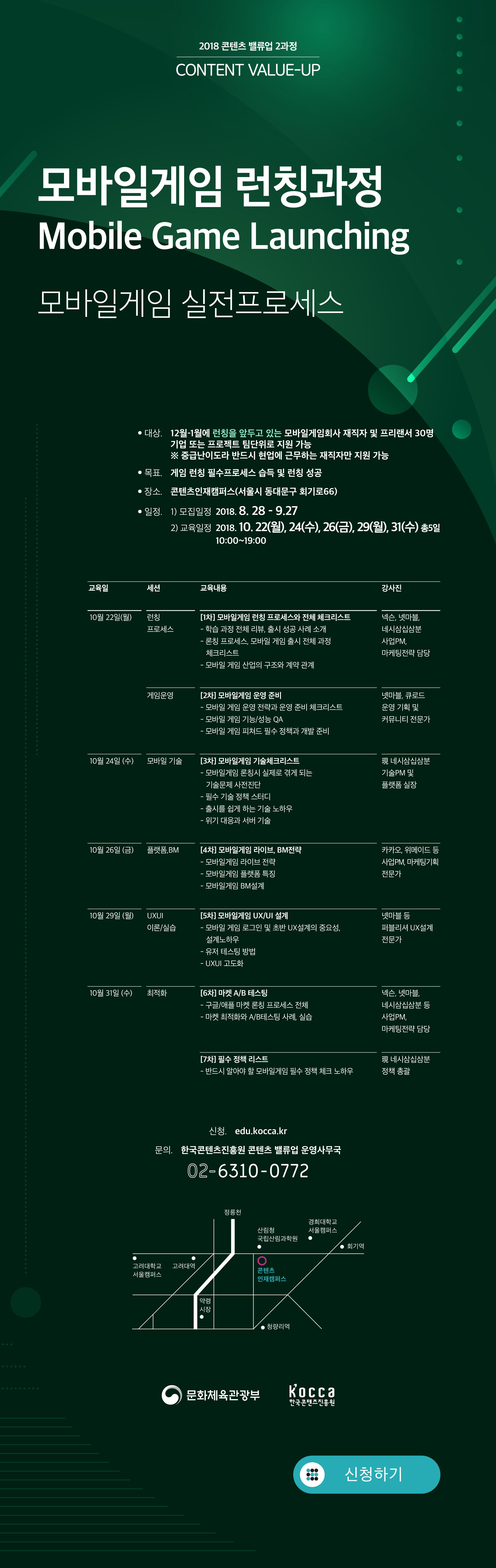 과 정 명 : 모바일 게임런칭_모바일게임 런칭 실전프로세스 과영기간 : (모집) ~ 9/27(목) / (선발) 9/28(금) / (운영) 10/22(월) ~ 10/31(수) 전담코치 : 신혜련 교수 (현 명지대학교 / 전 넥슨·넷마블·4:33) 주요목표 : 실제 게임 출시를 위한 '실전 게임 런칭' 지원 교육대상(수준) : 2018년 하반기에 게임 런칭을 원하는 게임사 관계자 30명 (15개 프로젝트 내외) 교육 장소 : 한국콘텐츠진흥원 콘텐츠인재캠퍼스 등 교육 목표 : 게임 런칭 전 품질 검증 및 강화 교육 통해 콘텐츠 퀄리티를 확보하여 마켓에서의 성공 가능성 제고, 인디게임 개발사의 성공적인 플랫폼 진입 교육과정 10월 22일 (월) 런칭 이론 [1차] 모바일게임 런칭 프로세스와 전체 체크리스트 - 학습 과정 전체 리뷰, 출시 성공 사례 소개 - 론칭 프로세스, 모바일 게임 출시 전체 과정 체크리스트 - 모바일 게임 산업의 구조와 계약 관계 신혜련 교수(명지대학교ICT융합대학 교수) 10월 24일 (수)UX/UI실습 [2차] 모바일게임 UX/UI설계 - 모바일 게임 로그인 및 초반 UX설계의 중요성, 설계노하우 - 유저 테스팅 방법 - UXUI 고도화 정정화(스마트스터디) 10월 26일 (수) 게임 운영 [3차] 모바일게임 기술체크리스트 - 모바일 게임 론칭시 실제로 겪게 되는 기술 문제를 사전 진단 - 필수 기술 정책 스터디 - 출시를 쉽게 하는 기술 노하우 - 위기 대응과 서버 기술 황상문(네시삼십삼분기술총괄) [4차] 모바일 게임 운영 준비 - 모바일 게임 운영 전략과 운영 준비 체크리스트 - 모바일 게임 기능/성능 QA - 모바일 게임 피쳐드 필수 정책과 개발 준비 이성원(큐로드) 10월 29일 (월) 게임 운영 [5차] 모바일게임 라이브·모바일게임 플랫폼 - 모바일 게임 운영 전략과 운영 준비 체크리스트 - 모바일 게임 기능/성능 QA - 모바일 게임 피쳐드 필수 정책과 개발 준비 김민희(카카오게임즈) 10월 31일 (수) 최적화 [6차] 마켓프로세싱과 최적화 - 구글/애플 마켓 론칭 프로세스 전체 - 마켓 최적화와 A/B테스팅 사례, 실습 신혜련(명지대학교ICT융합대학 교수) [7차] 필수 정책 체크리스트 - 구글/애플 마켓 필수 정책 사례 권혁우(네시삼십삼분)